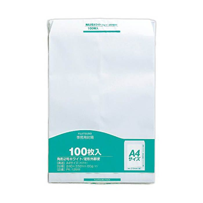マルアイ ホワイト封筒 角2 100枚 80g/m2 PK-128W