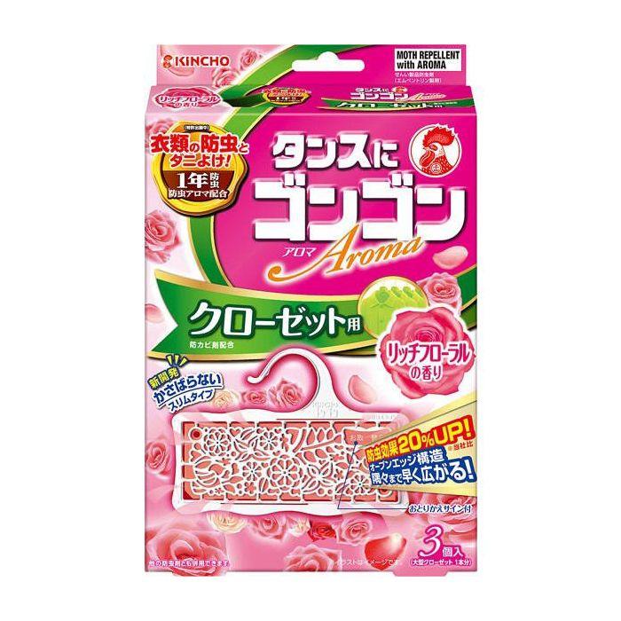 【防虫剤】 金鳥 ゴンゴンクローゼット リッチフローラル 3個