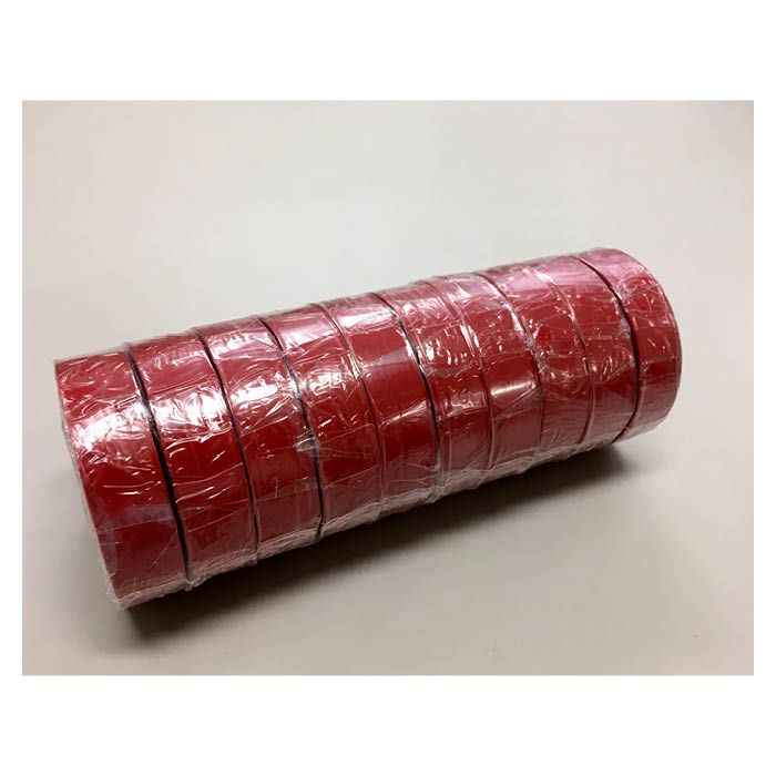 ビニールテープ 10P 赤 19mm×20m