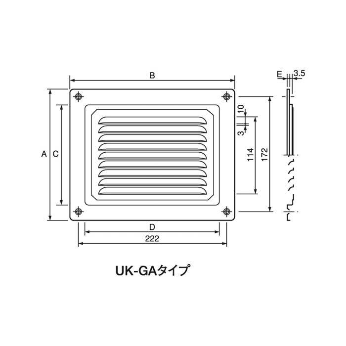 宇佐美工業 ステンガラリ UK-GA1520S 196×246 シルバー