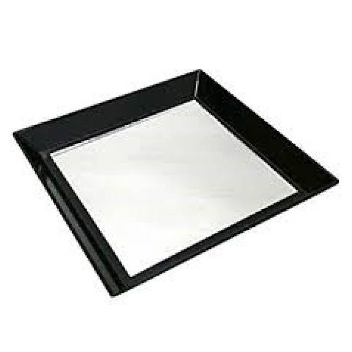 カルトン皿 角 全面鏡付 K-6 黒