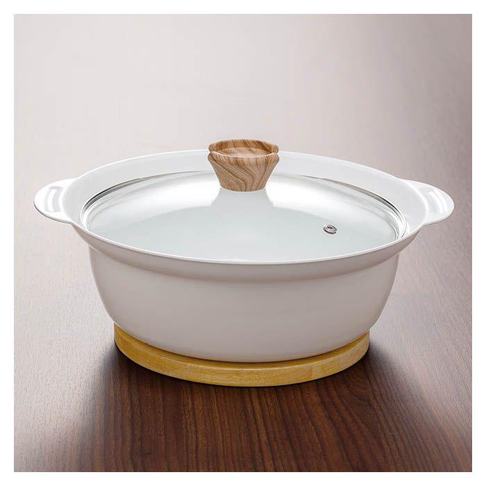 IH吹きこぼれにくい 卓上鍋20cm白セラ
