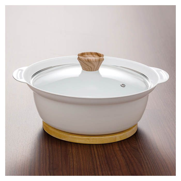 IH吹きこぼれにくい 卓上鍋24cm白セラ