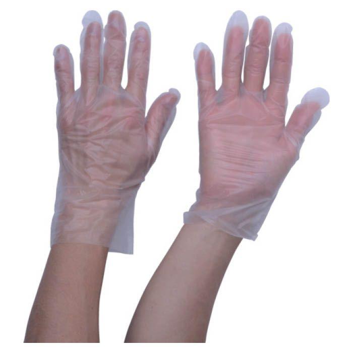 (T)TRUSCO(トラスコ) ポリエチレン使い捨て手袋ウェーブカットタイプL(100枚入)