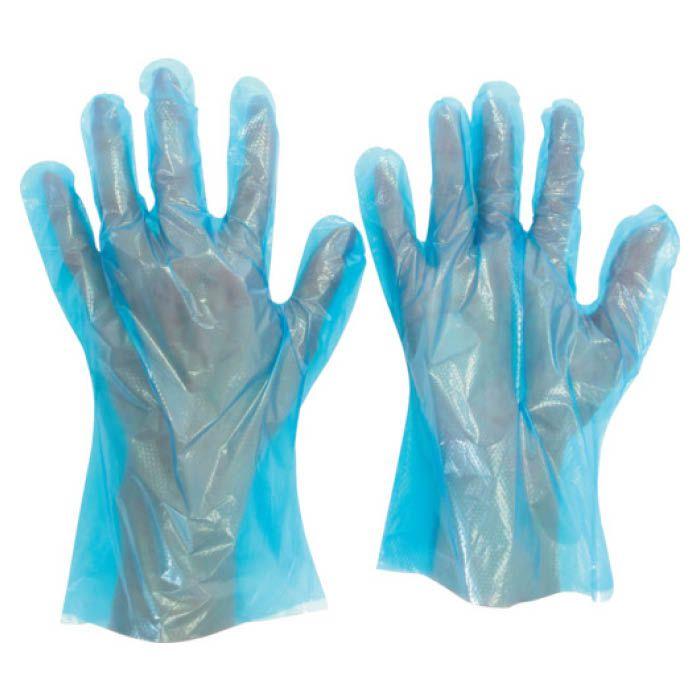 (T)ミドリ安全 ポリエチレン使い捨て手袋 片エンボス 200枚入 青 S