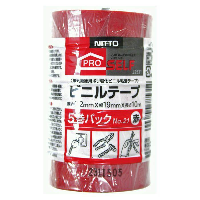 P ビニルテープ 19×10 5P 赤