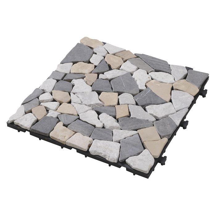 YAMAZEN 天然石ジョイントタイル ブラウン 10P