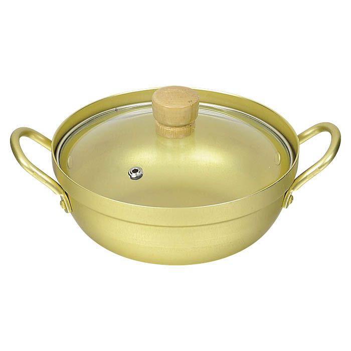 アルミ湯豆腐鍋 16cm ガラス蓋付