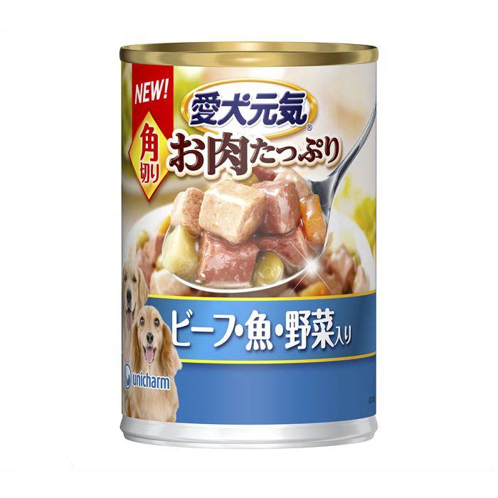 ユニ・チャーム 愛犬元気缶角切り ビーフ・魚・野菜入り 375g