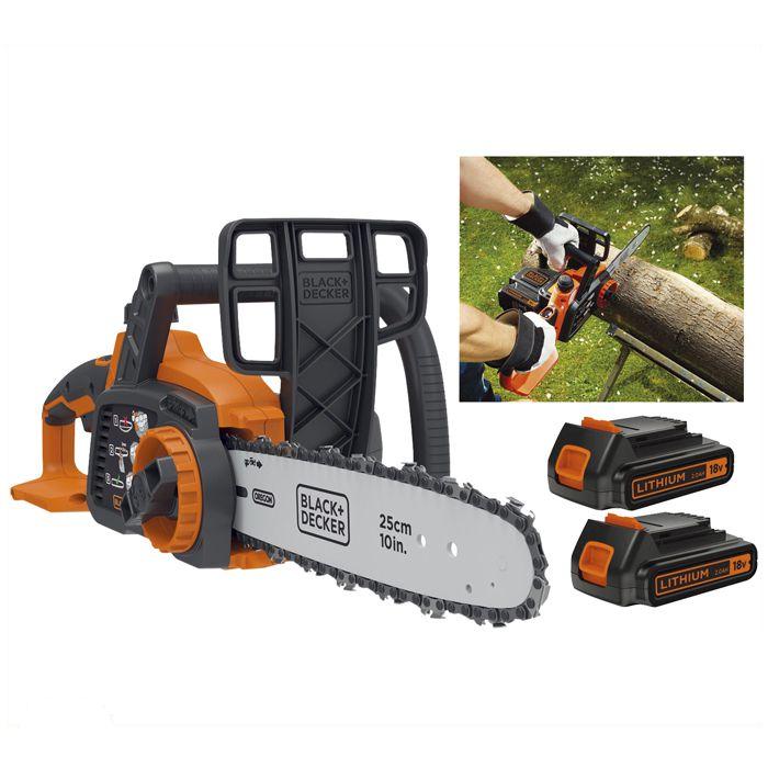 BLACK + DECKER 18V充電式 25cm チェーンソー GKC1825L2NG-JP